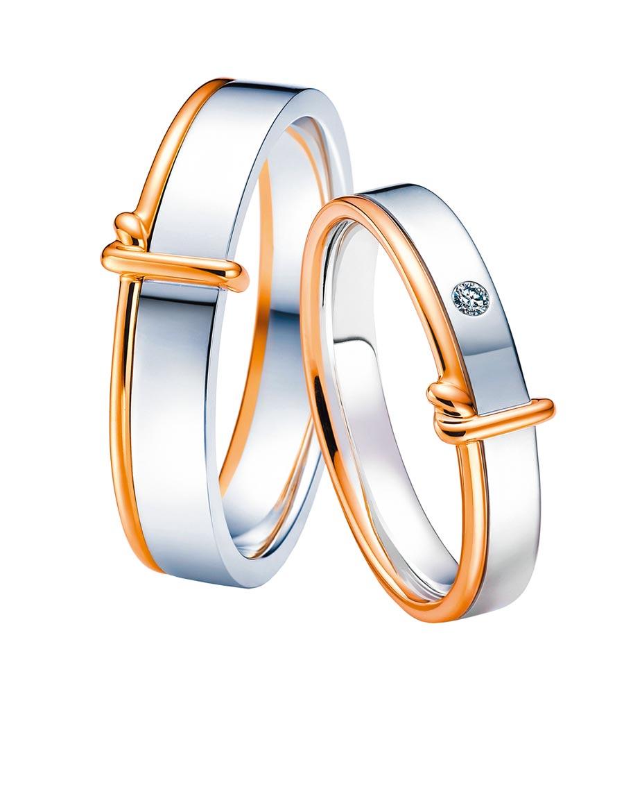 點睛品Promessa「同心結」婚戒,女戒1萬6000元,男戒1萬9500元。(點睛品提供)