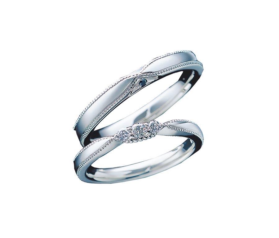 日本國民婚戒品牌銀座白石推薦Elisabeth鉑金對戒。(GINZA DIAMOND SHIRAISHI提供)