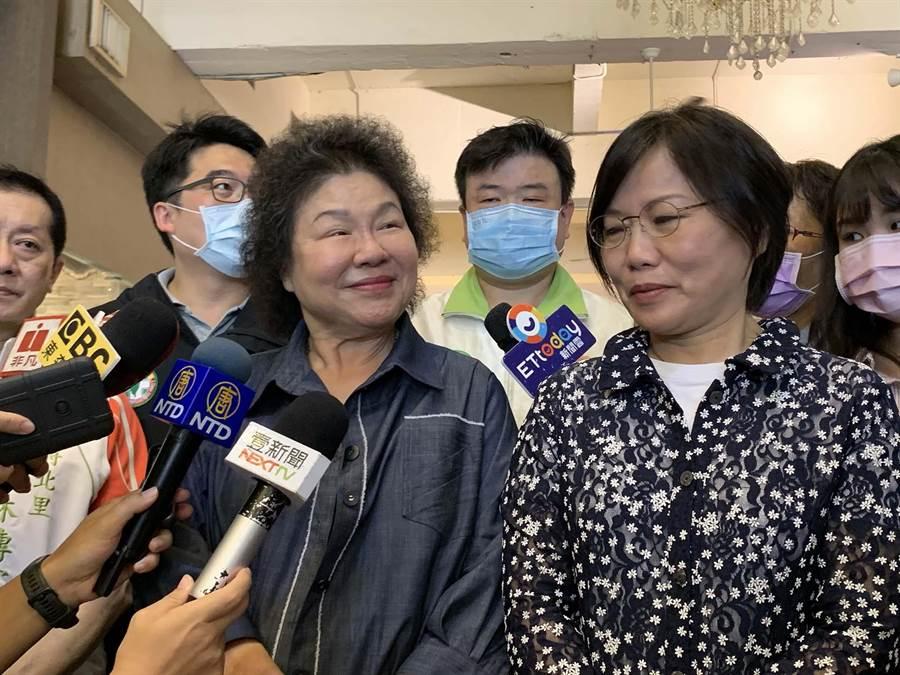 總統府前祕書長陳菊今回高雄投票,對於黨內競爭呼籲不要破壞和諧。(柯宗緯攝)