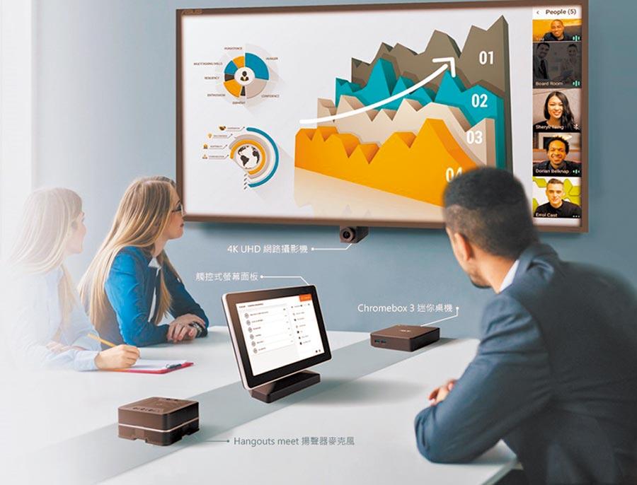 亦有PC品牌廠趁機切入,2020年3月底華碩推出Hangouts Meet hardware kit套組,主打台灣首家Google Hangouts Meet軟體授權的硬體品牌。圖/本報資料照片