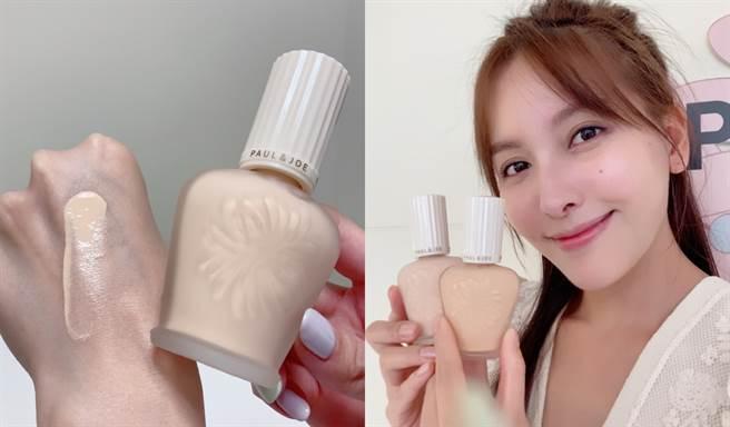 第五代糖瓷防曬隔離乳很適合想要快速上妝的人,MODEL僅擦上「小香檳」再刷上蜜粉就有很好的修飾效果。(圖/邱映慈攝影)
