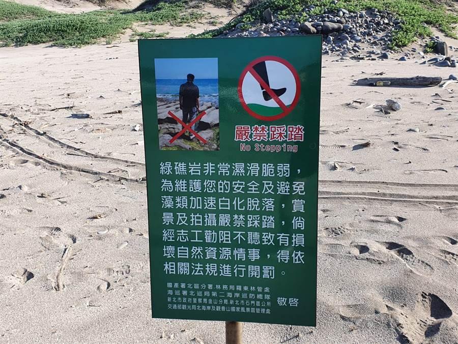 老梅石槽岸邊立有嚴禁踩踏礁岩的告示牌。(照片/讀者提供)
