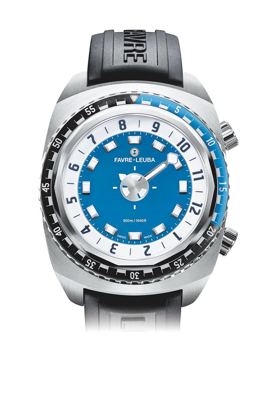 域峰表潛水系列Raider Harpoon單指針藍色面盤橡膠表帶腕表,13萬5000元。(瑞博品提供)