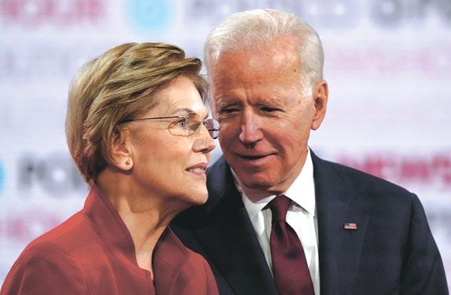 儘管初選期間,華倫(左)與拜登(右)相互較勁,但在華倫決定退選之後,兩人關係好轉,她也改口讚美拜登為人正直。圖/路透