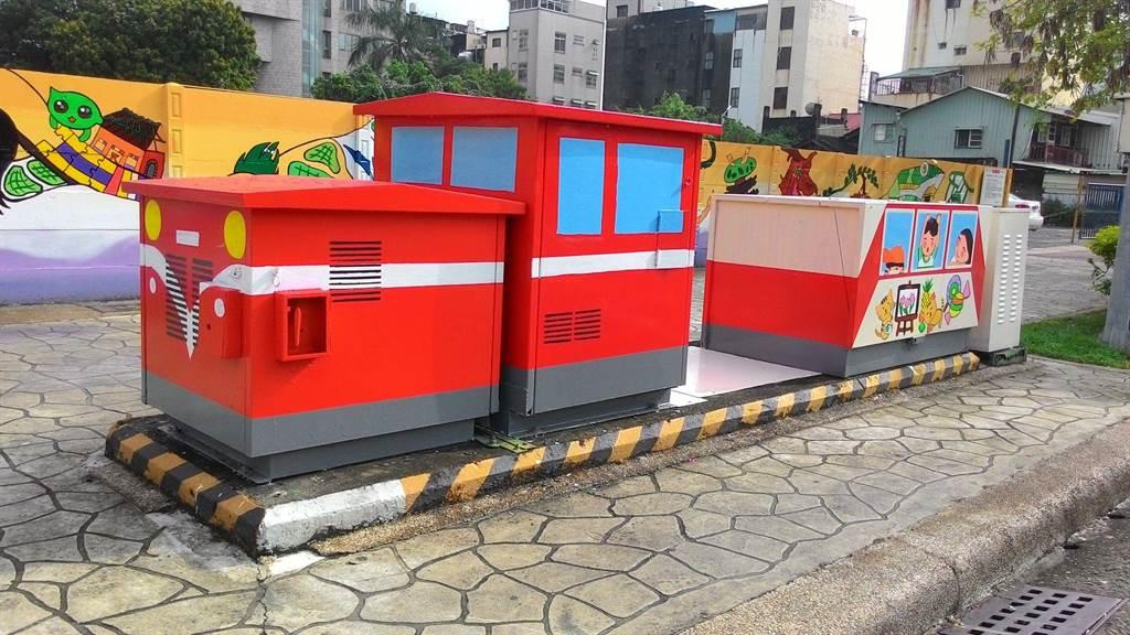 嘉義市崇文國小師生彩繪人行道牆面及台電變電箱,街景變美麗了。(台電嘉義區處提供)