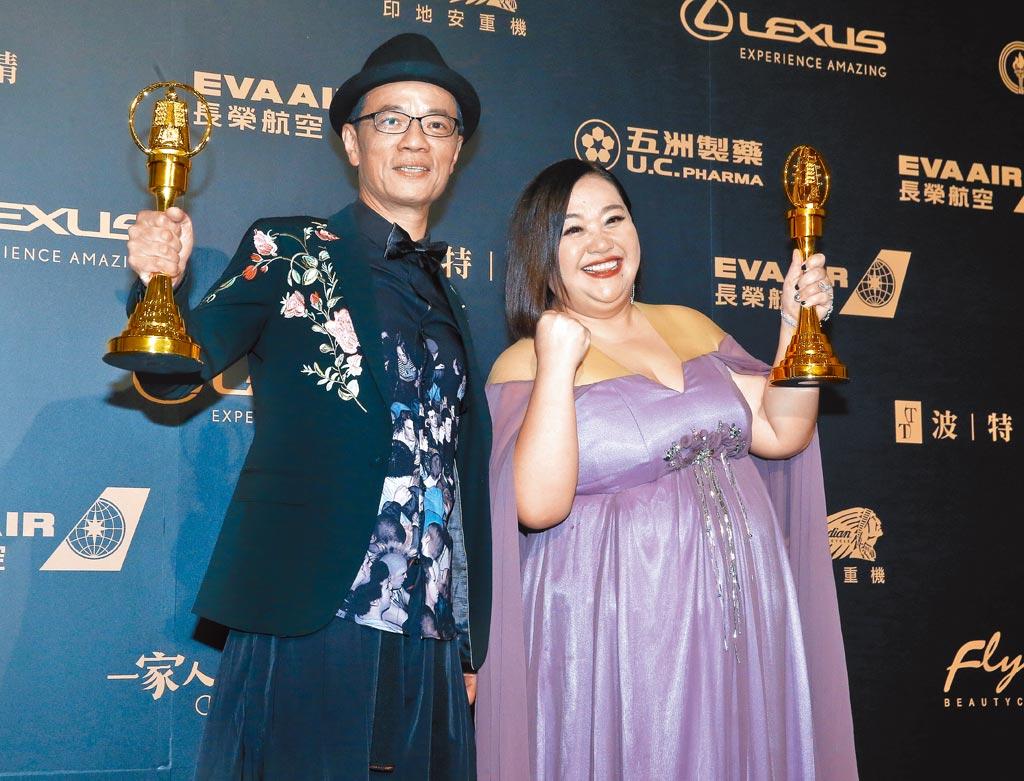 吳朋奉(左)2019年和鍾欣凌分別獲得金鐘獎迷你劇集電視電影男女主角獎。(資料照片)