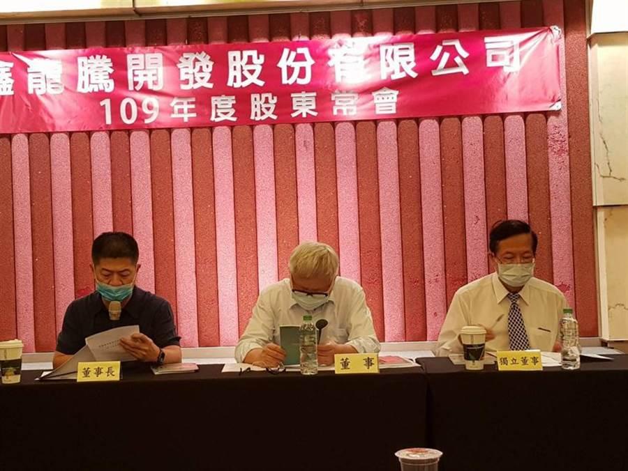 鑫龍騰開發27日股東常會,通過配發現金股息0.5元,董事長黃學藤(左)表示,高雄房市最壞時刻已經過了。(圖/顏瑞田)