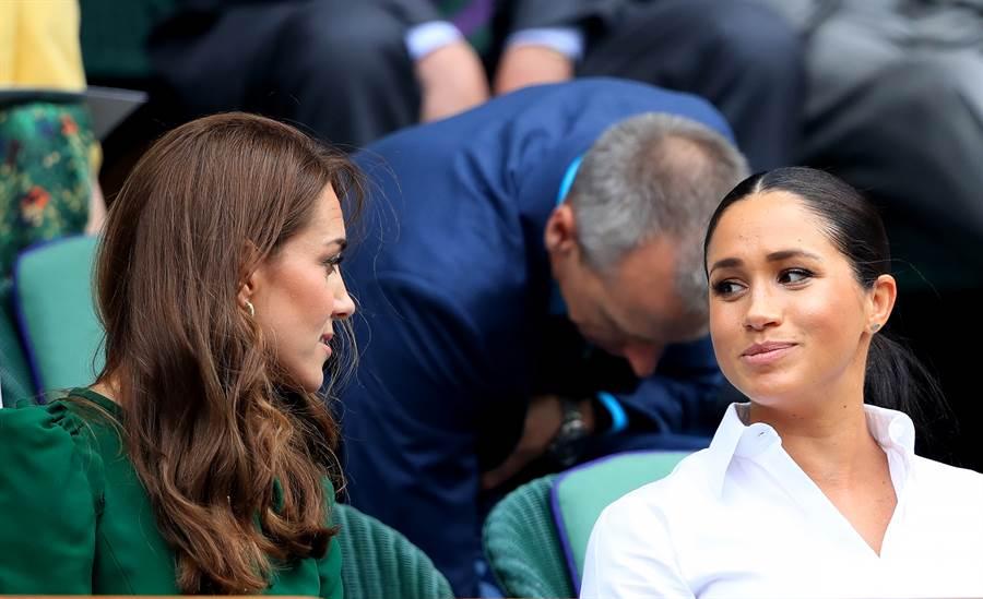 凱特和梅根共同觀賞溫布頓(Wimbledon)網球錦標賽的資料照。(達志圖庫/TGP)