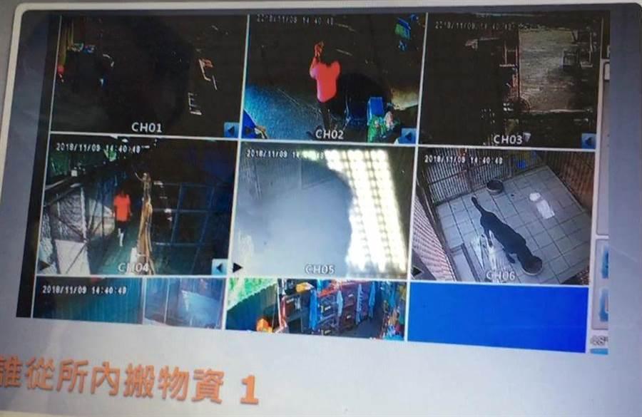 嘉義市動保園區監視畫面疑似有人搬運物品。(動保人士提供/廖素慧嘉義傳真)