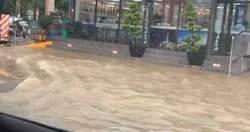 雨炸高雄!國道北上匝道封路 岡山淹出多條小河
