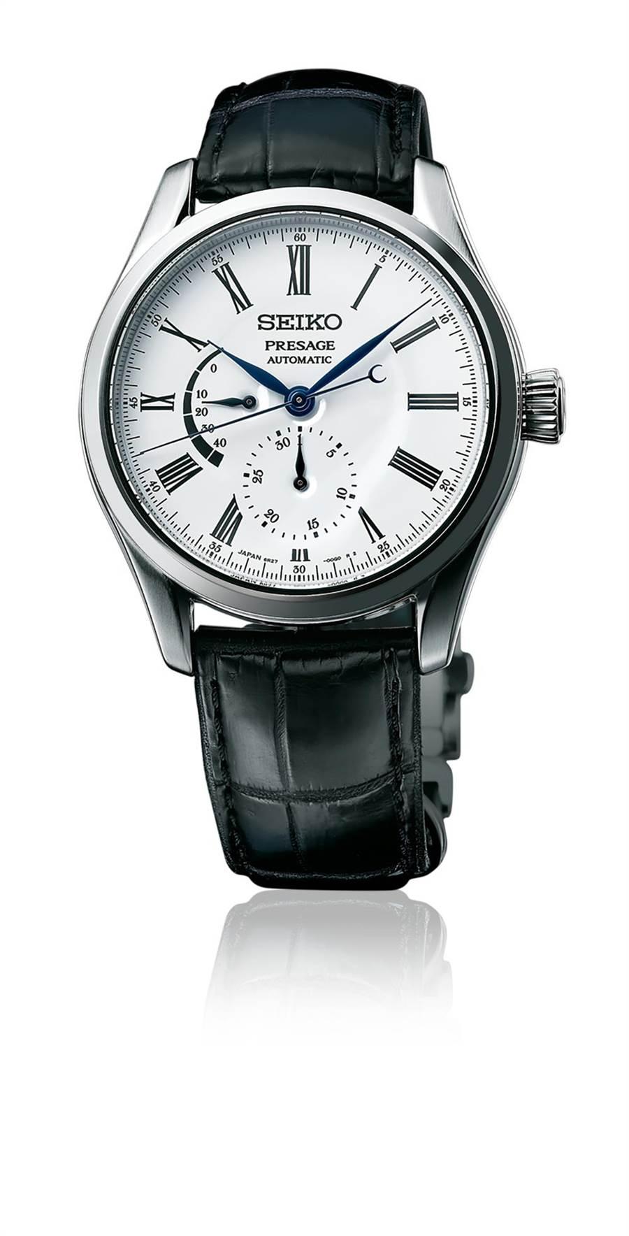 精工表Presage系列琺瑯面盤腕表,搭載6R27機芯,藍寶石水晶鏡面,精鋼表殼搭鱷魚皮表帶,3萬8800元。(SEIKO提供)
