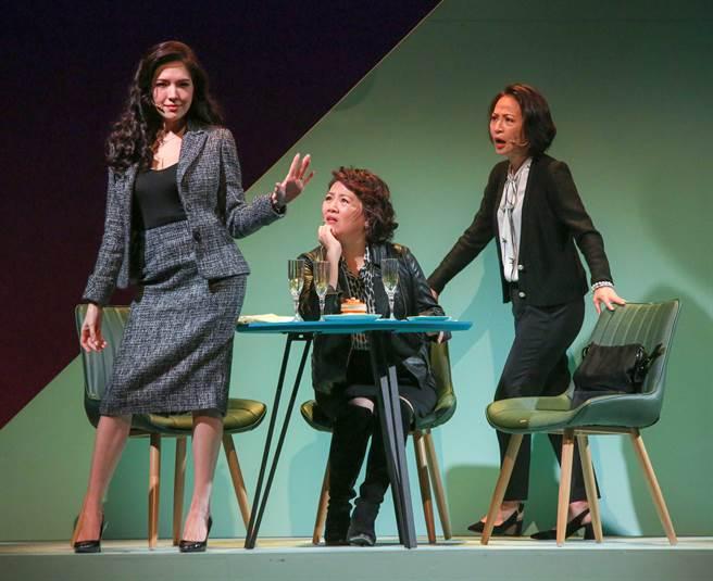 許瑋甯(左起)、王琄、姚坤君在《我的大老婆》為姊妹淘,面臨各自婚姻問題。(吳松翰攝)