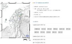 21:02花蓮秀林規模4.8地震!最大震度宜蘭4級 雙北有感