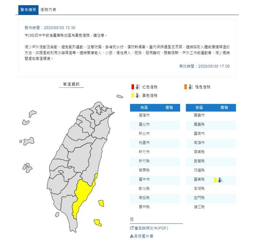 今(30)日中午前後台東縣地區為黃色燈號,當地民眾請注意。(圖擷自氣象局)