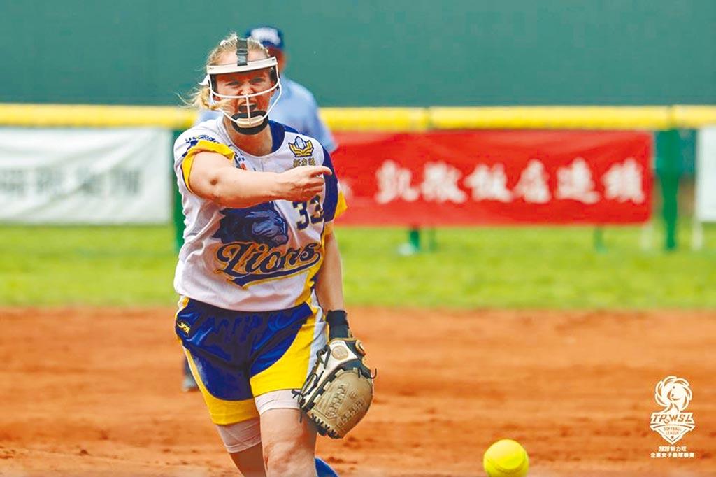 兩屆世錦賽金牌得主巴恩希爾來台效力企業女壘聯賽的新力旺獅隊。(中華壘協提供)
