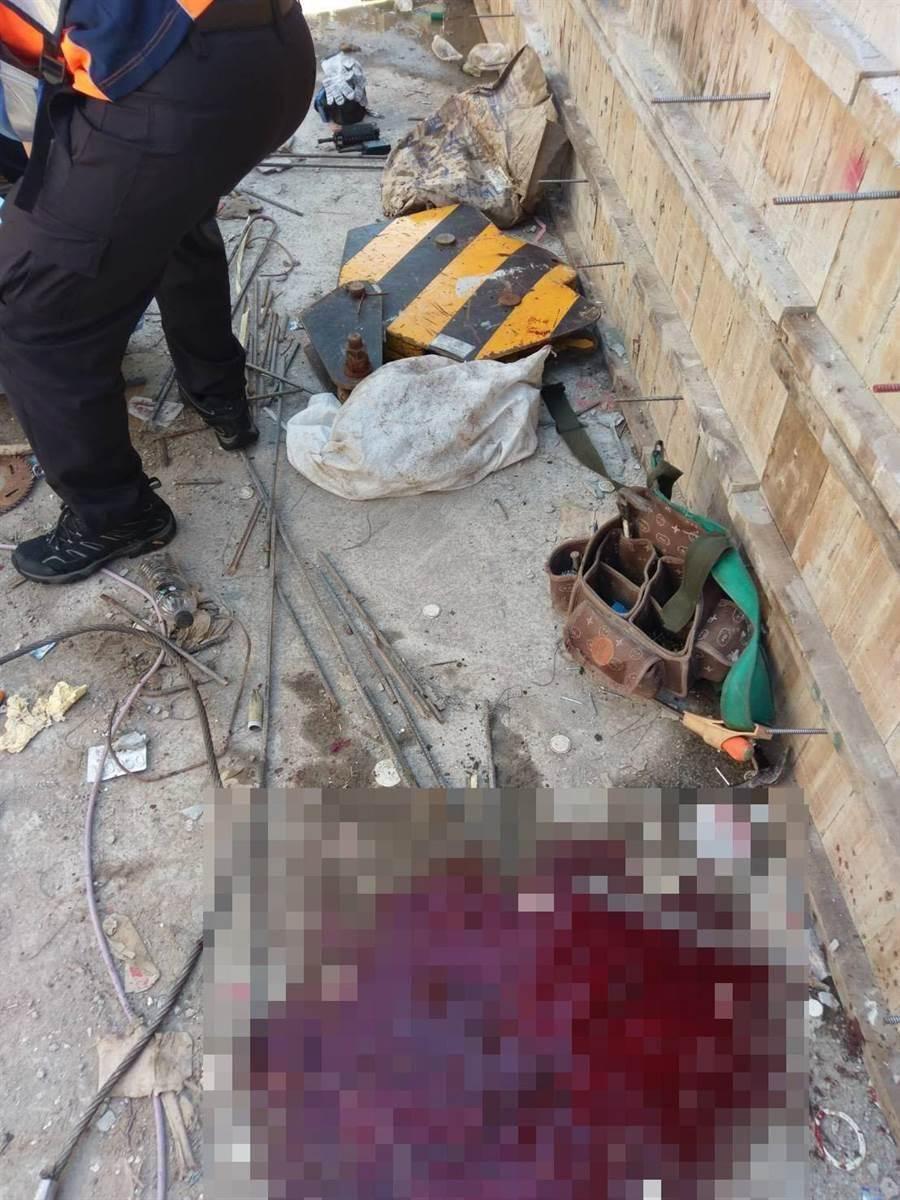 台南市安平區工地工安意外,72歲工人遭天車掛勾砸爆頭送醫救治中。(讀者提供/程炳璋台南傳真)