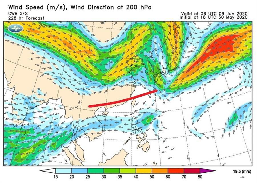 鄭明典PO出一張圖,分析台灣上空出現偏東風時,是一項「出梅」指標。(圖/摘自鄭明典臉書)