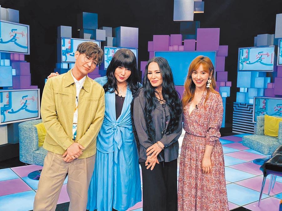 潘越雲(右二)受邀上炎亞綸(左起)、唐綺陽、Sandy主持的新節目。(翻攝自雲凱娛樂工作室臉書)