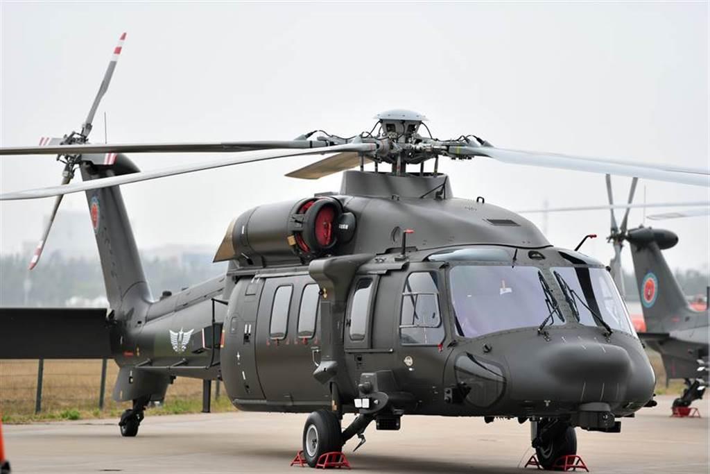 直-20多用途直升機2019年10月10日在天津直博會上亮相。(新華社)