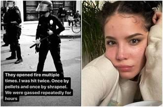 美警殺黑人釀暴動 女星聲援遭「橡膠彈射擊」影片曝光