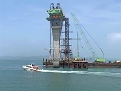 金門大橋首座節塊上梁  總工程進度達74.33%