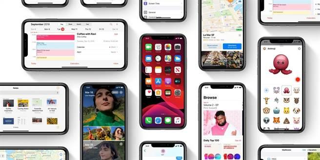 外媒預測,iOS 14 支援的 iPhone 機種,預計跟 iOS 13 一樣,一款都沒少。圖為 iOS 13 官方示意圖。(摘自蘋果官網)
