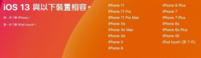 蘋果官網公布的 iOS 13 支援機種。(摘自蘋果官網)