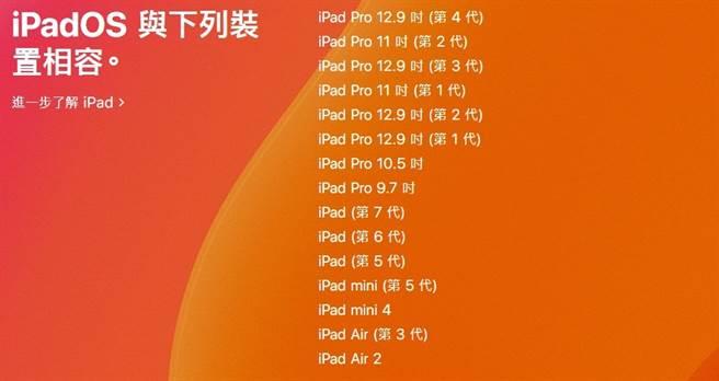 蘋果官網公布的 iPadOS(13)支援機種。(摘自蘋果官網)
