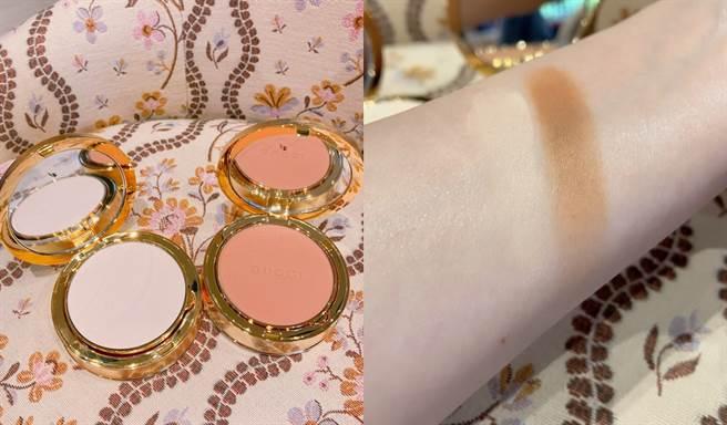 Gucci柔焦凝光粉餅最淺色可當蜜粉使用,深色系可當做修容。(圖/邱映慈攝影)