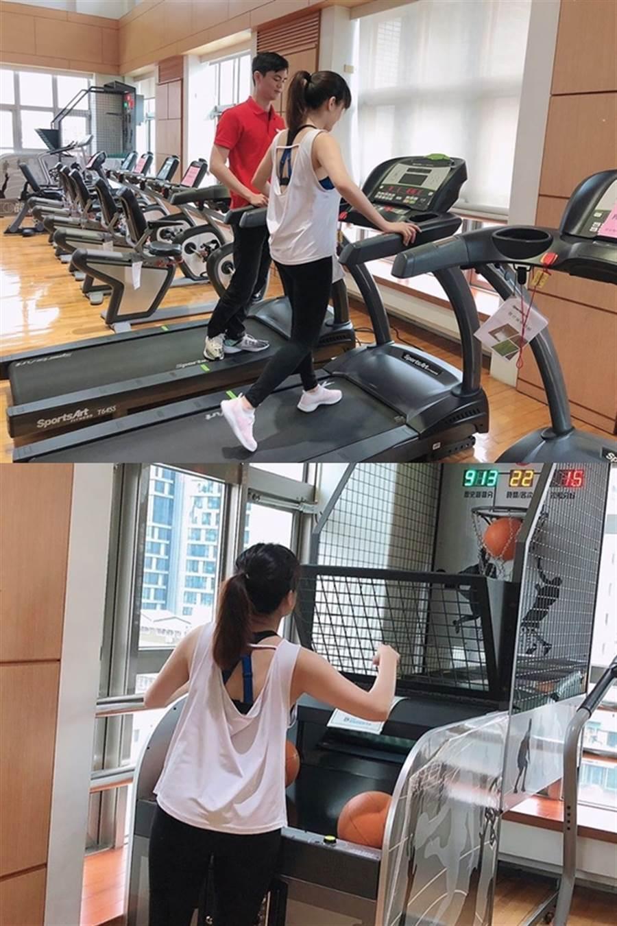 歡歡3日時PO了「被抓來健身房做運動」的照片,讓網友一看暴動了。(圖/摘自何庭歡FB)