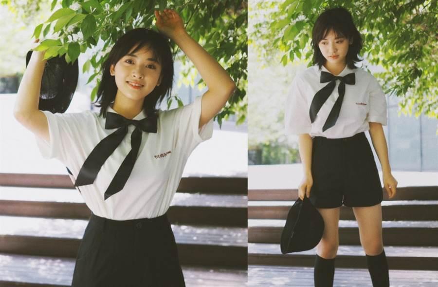 「短髮版沈月」化身日本女高中生!短褲下絕對領域超養眼(圖/摘自微博@沈月)
