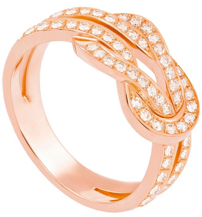 FRED珠寶Chance Infinie玫瑰金鑽石戒指,15萬400元。(FRED提供)