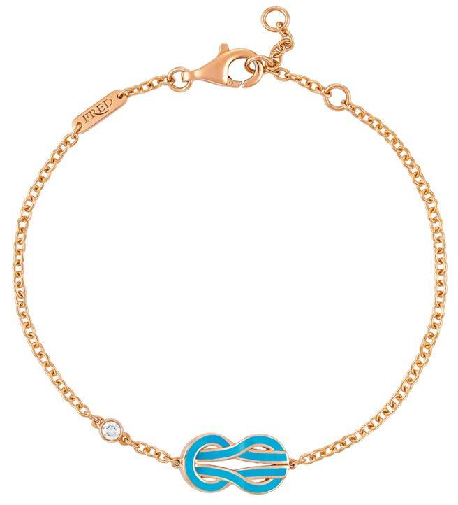 FRED珠寶Chance Infinie綠松石漆面玫瑰金手鍊,飾以1顆明亮式切割鑽石,4萬5600元。(FRED提供)