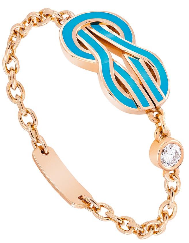 FRED珠寶Chance Infinie綠松石漆面玫瑰金戒指,飾以1顆明亮式切割鑽石,3萬4800元。(FRED提供)