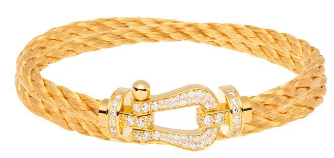 FRED珠寶Force 10金色鑲鑽鍊釦配金色纜繩,價格店洽。(FRED提供)