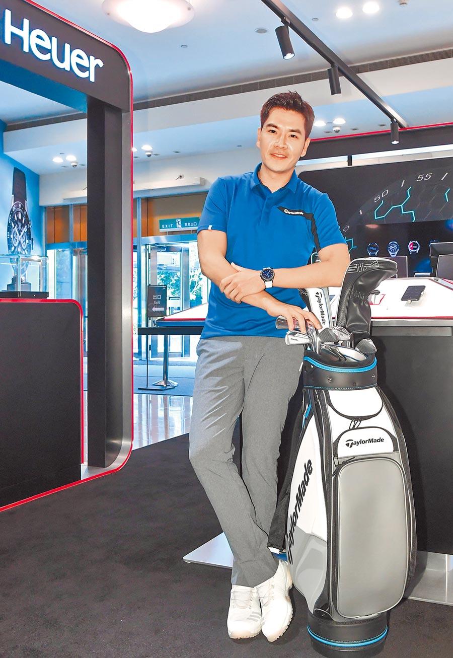 藝人王傳一熱愛高爾夫運動,出席泰格豪雅Connected 高爾夫球特別版智能腕表新品發表會,分享試用心得。(盧禕祺攝)