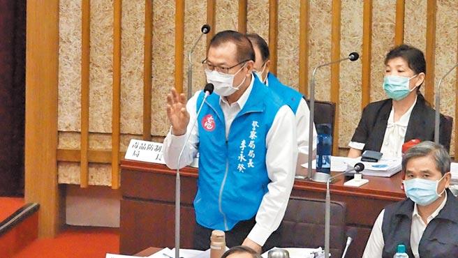 高巿府警察局長李永癸5日在巿議會答詢表示,6月6日罷免投票,警政署將調派1400人支援。(曹明正攝)