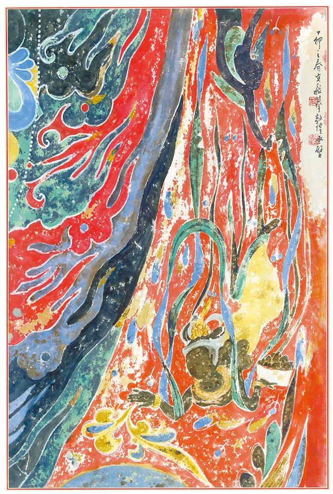 胡克敏,《臨摹敦煌壁畫-隋代飛天像》,水墨,81.5×55cm,1987年。(圖片提供吳放)
