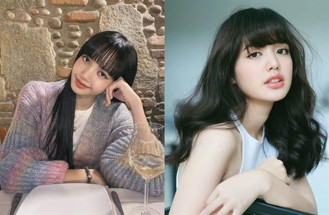 沛派琳丹拉帕彭(Ploypailin Tangprapaporn)(右)因外型激似韓國女團成員Lisa(左)而爆紅。(圖/IG@lalalalisa_m、Pigkaploy)