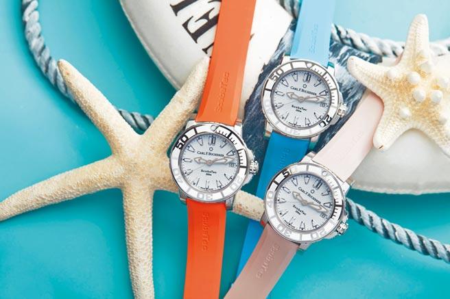 寶齊萊多年來贊助魔鬼魚基金會,柏拉維深潛系列腕表與海洋的聯結最深,防水達300米,16萬3000元。(CARL F. BUCHERER提供)