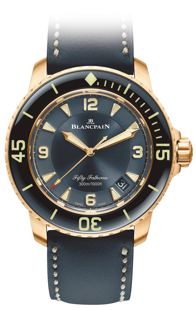 寶珀五十噚潛水表,防水300米,114萬元。(Blancpain提供)