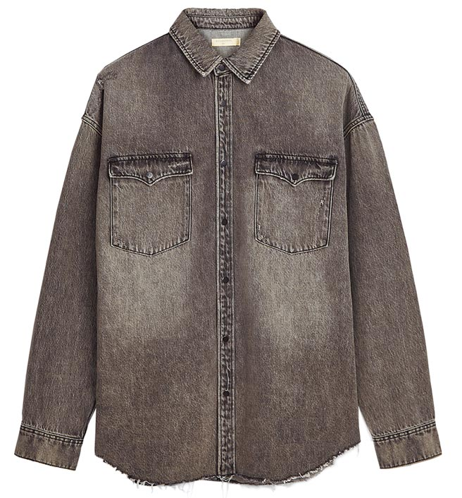 AllSaints Dore下襬不收邊牛仔襯衫,售價6100元。(AllSaints提供)