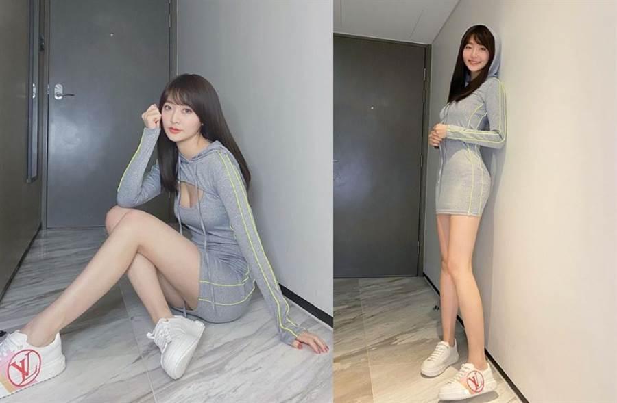 香港女星王卓淇靠長腿和螞蟻腰身材爆紅。(圖/IG@erin__kay)