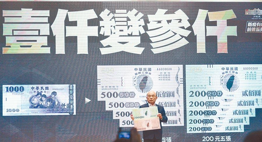政府宣布7月15日實施振興「三倍券」,在實體方面,民眾拿一張千元鈔,可以換回3000元三倍券,分成4張500元和5張兩百元。(本報資料照片)