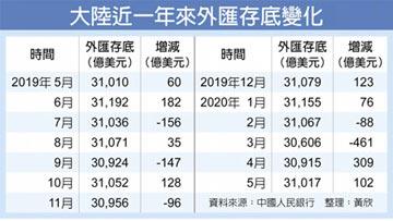 陸5月外匯存底 連二月增長