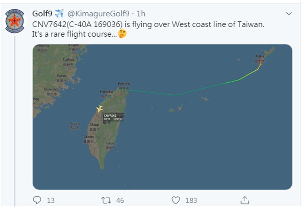 已追蹤飛行軌跡聞名的「Golf9」在推特公布此運輸機飛行路線。(摘自「Golf9」推特)