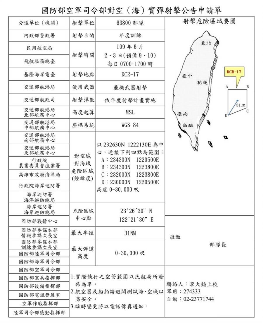 國軍今日預劃在台灣東岸打靶。取自國防部