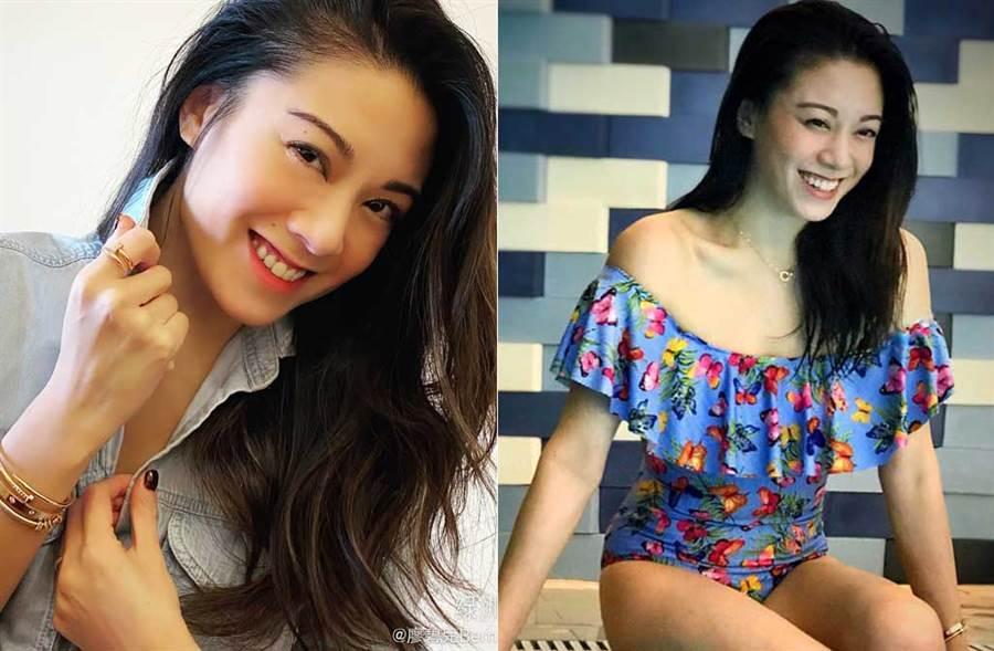 港星廖碧兒是選美出身,拿過華裔小姐后冠。(取材自廖碧兒微博)