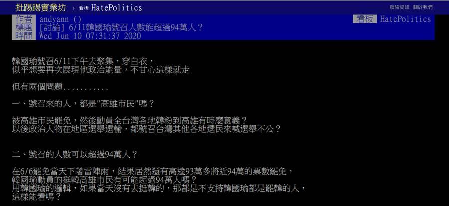 韓國瑜號召11日動員,網猜測其心態。(圖/摘自PTT)