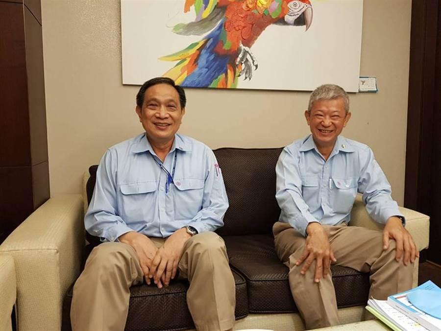 (中碳董事長羅文驥(左)與總經理方明達(右)對今年營運,朝向樂觀看待。圖/顏瑞田)